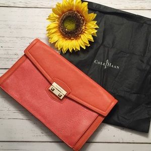 Cole Haan Orange Leather Clutch with Gold Hardware